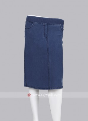Women Blue Straight Denim Skirt