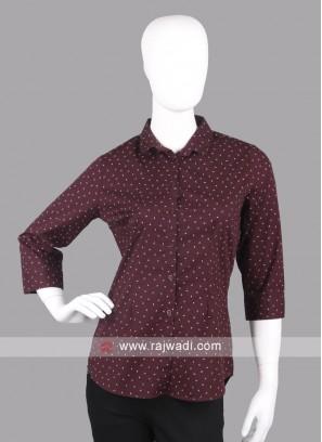 Women brown color printed shirt