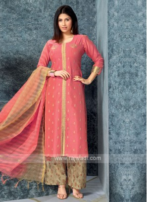 Women Gajari kurta with Palazzos & Stole