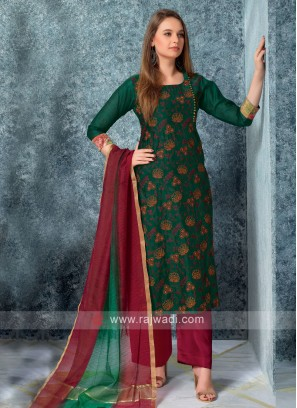 Women Green kurta with Palazzos & Stole