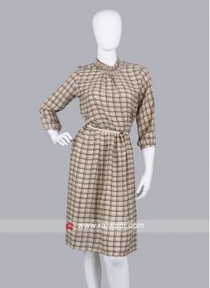 Women Grey Checked Formal Sheath Dress