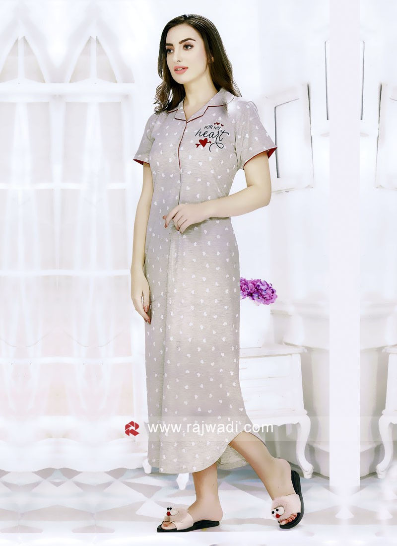 Women grey color printed maxi night dress