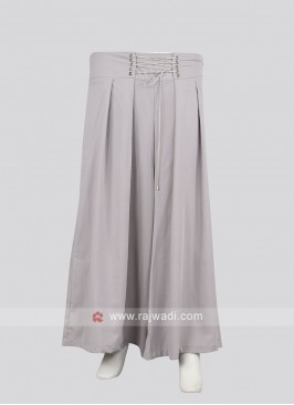 Women Grey color Solid Straight Palazzos