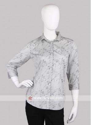 Women grey printed shirt