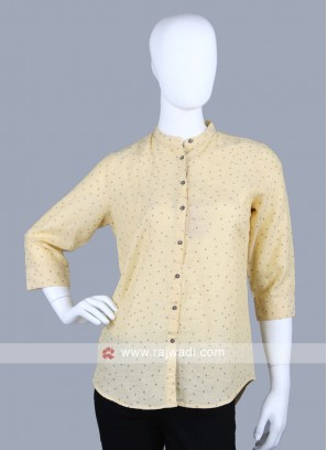 Women lemon yellow printed shirt