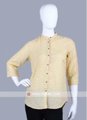 Women lemon yellow printed shirt