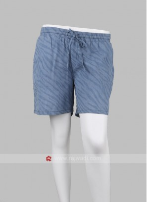 Women Light Blue Printed Regular Shorts