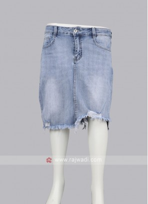 Women Light Blue Washed Straight Denim Skirt