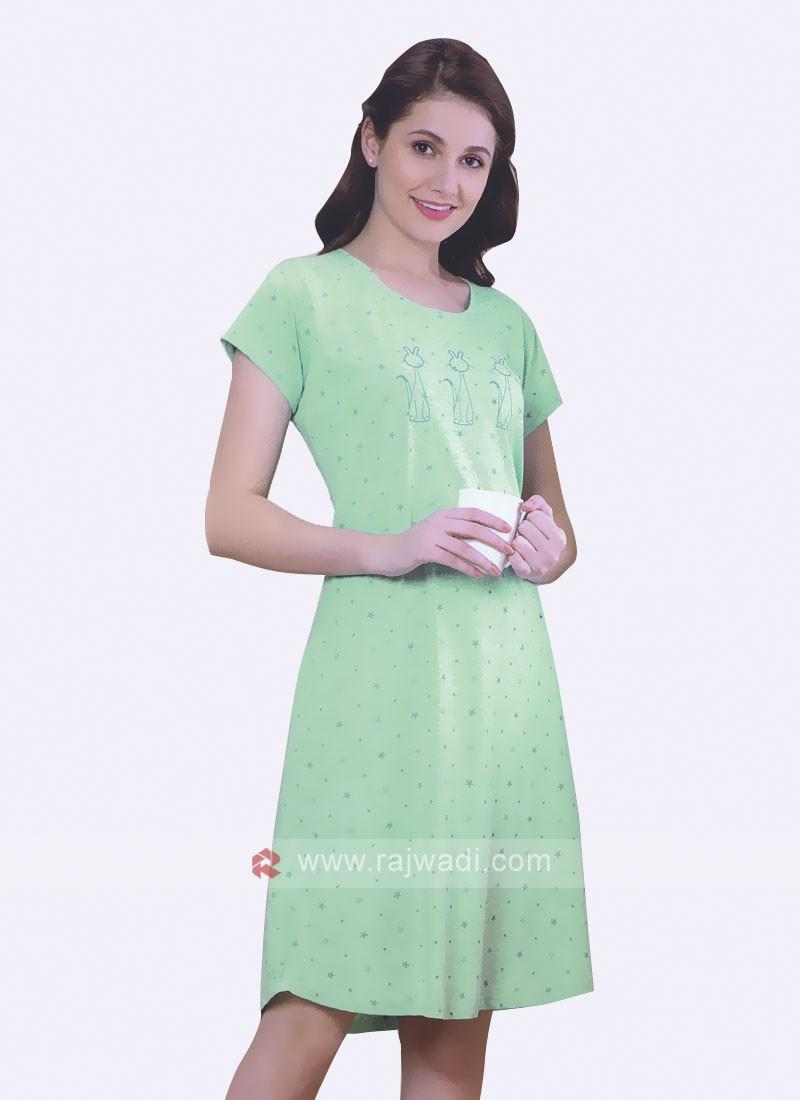 Women Light green color short nighty