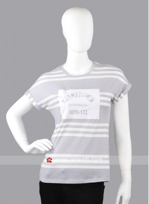 Women light grey and white top