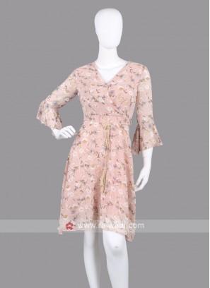 Women Light Peach Floral Print Fit & Flare Dress