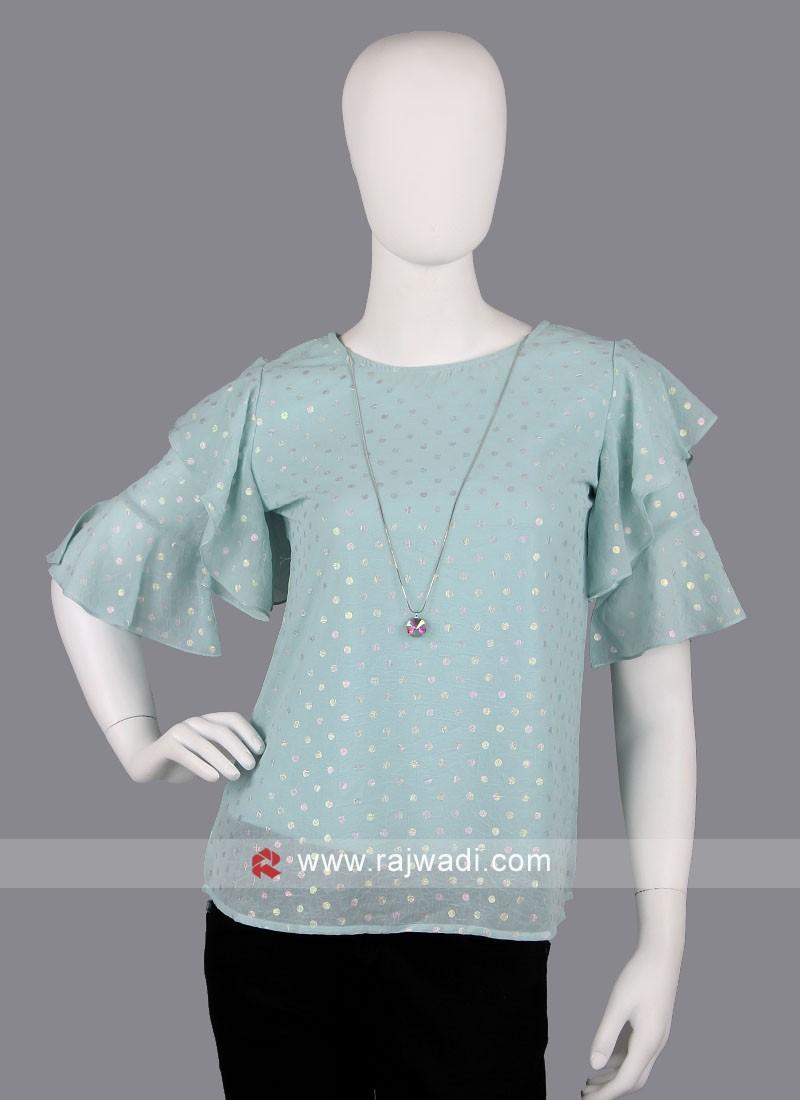 Women light sky blue color printed top