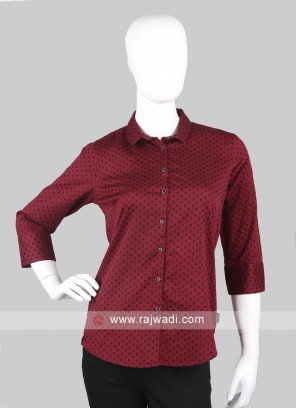 Women maroon color polka dot printed shirt