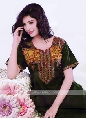 Women Mehendi Green Thread Work Nighty