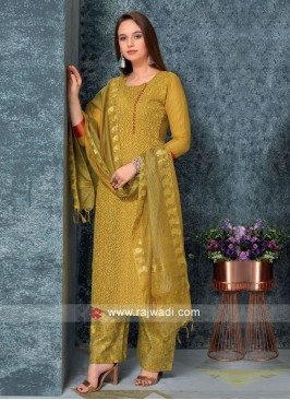 Women Mustard Yellow with Palazzos & Stole