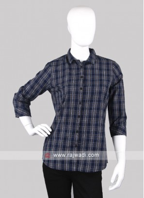 Women navy blue checks shirt
