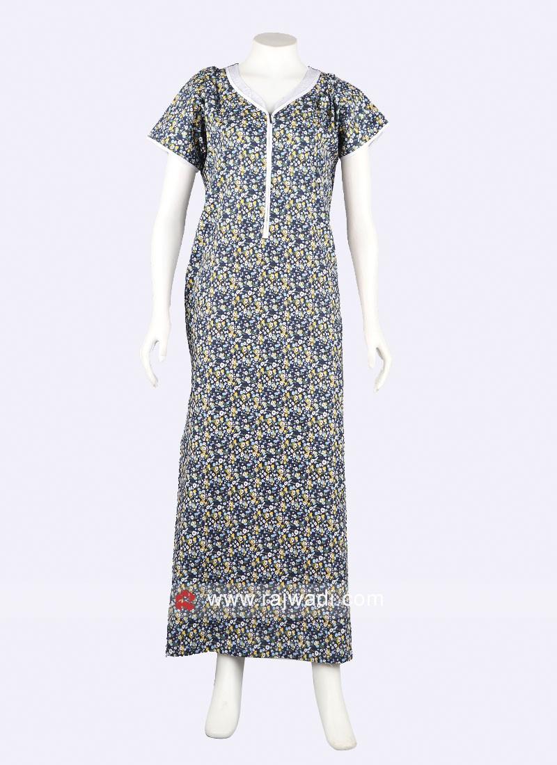 women navy blue printed nighty