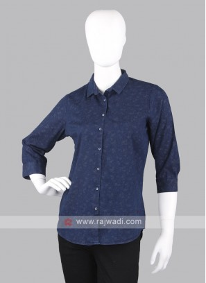 Women navy blue printed shirt