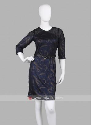 Women Navy Blue Stright Dress