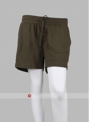 Women Olive-Coloured Solid Regular Fit Shorts