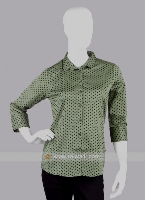 Women olive green polka dot printed shirt