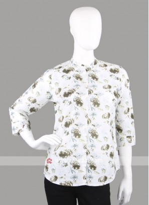 Women olive printed shirt