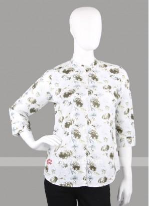 Women olive printed shirt