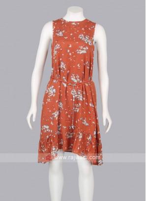 Women Orange Short Midi