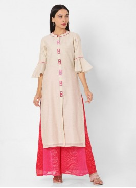 Womens Off-White And Pink Color Palazzo Kurti Set