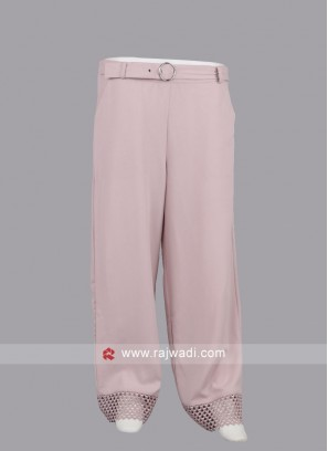 Women Peach color Solid Straight Palazzos