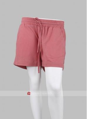 Women Peach Solid Regular Fit Shorts