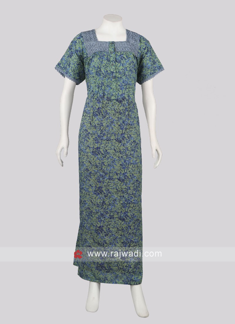 Women pista green and blue color nighty