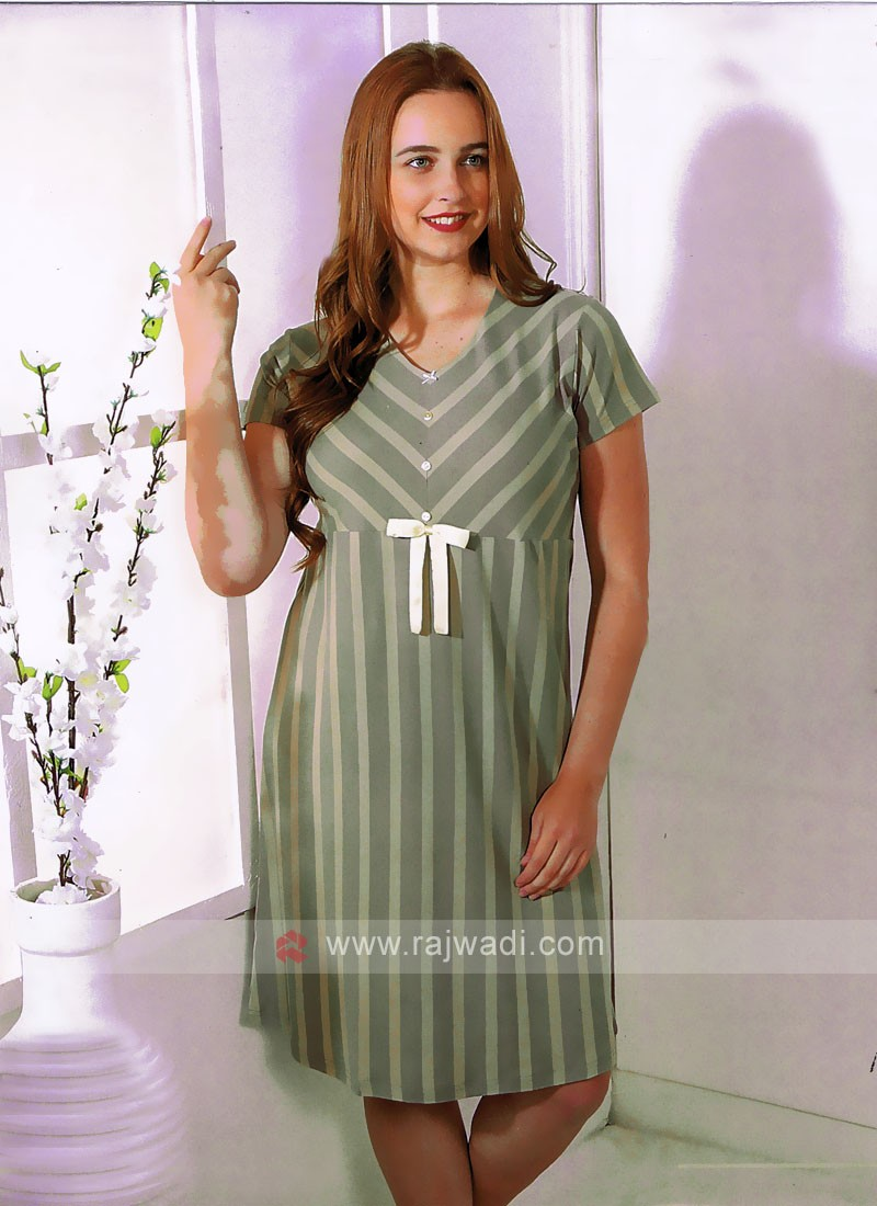 Women Pista Green and grey color short nighty