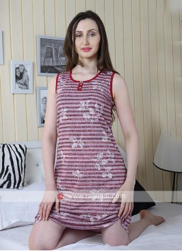 Women red color printed short nighty