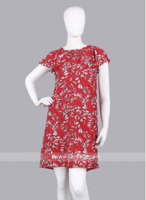 Women Red Printed Off-Shoulder A-Line Dress