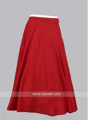 Women Red  Solid Maxi Flared Skirt