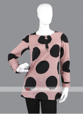 Women rosy brown and black top