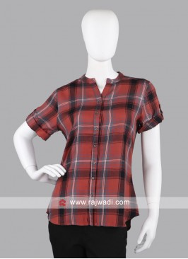 Women rust color Checked Casual Shirt