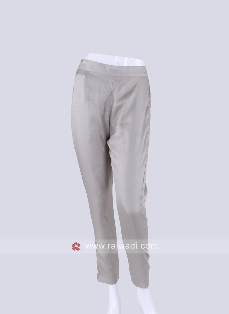 Women Silver Regular Fit Solid Pyjama Regular fit, slim fit women beige cotton blend trousers. rajwadi