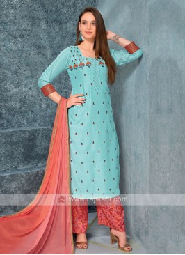 Women sky blue kurta with Palazzos & Stole