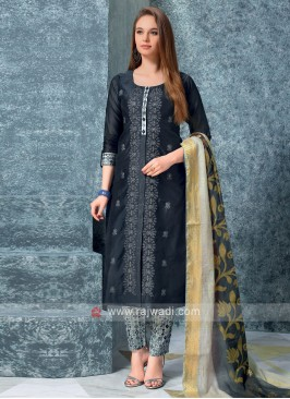 Women Slate Grey kurta with trouser & Stole