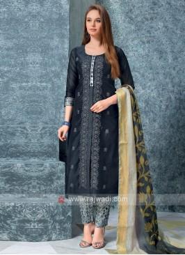Women Slate Grey kurta with trouser & Stole