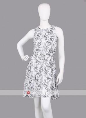 Women White Print Fit & Flare Dress