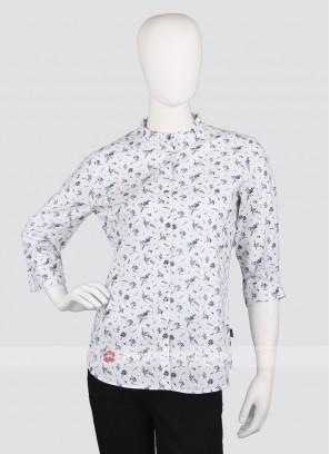Women white printed shirt