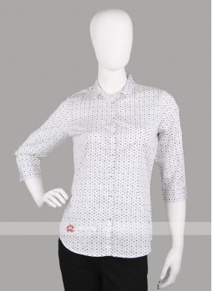 Women white printed shirt