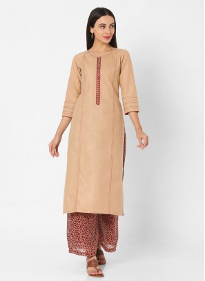 Womens Embroidery Kurti Set In Beige And Maroon color