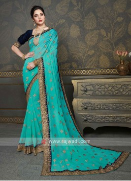 Wonderful Aqua Color Saree