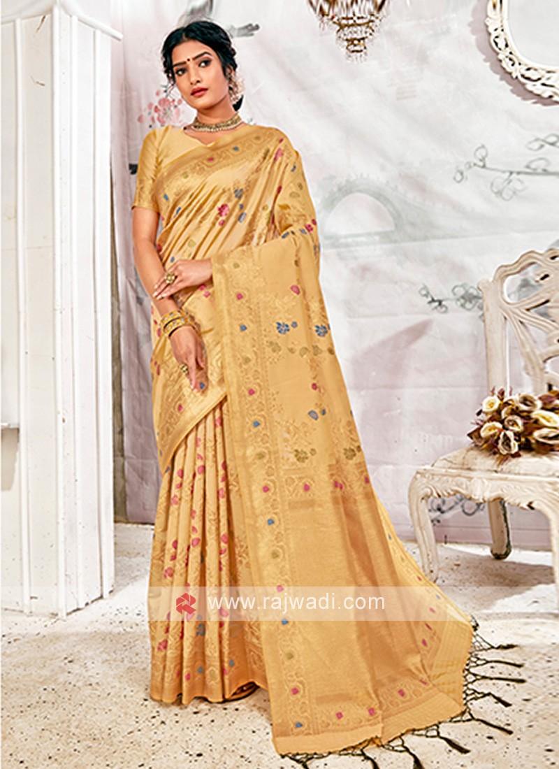 Wonderful Beige Banarasi Silk Saree