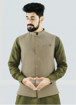 Wonderful Beige Color Nehru Jacket