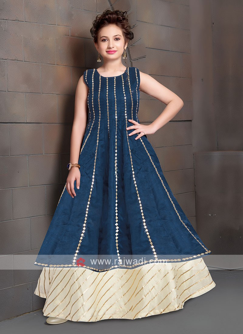 Wonderful Blue & Off White Color Gown For Girls